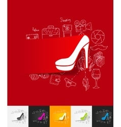shoe paper sticker with hand drawn elements vector image vector image