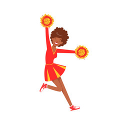 Smiling cheerleader girl teenager dancing with red vector