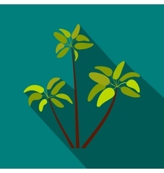 Three palm plant trees icon flat style vector