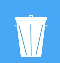 Trash can on a blue background vector image vector image