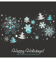 Ornate Christmas card with snowflakes vector image