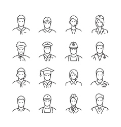 Professions line icons vector