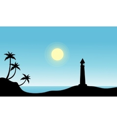 Silhouette of lighthouse on beach vector image