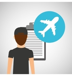 Man delivery checking airport transport delivery vector