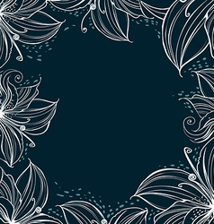 frame decorated stylized petals vector image