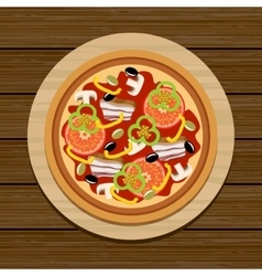 Pizza on a wooden table vector image
