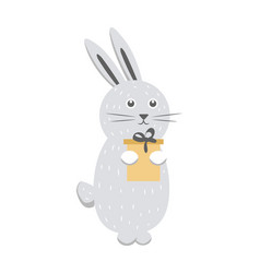 gray rabbit with gift box isolated on white vector image