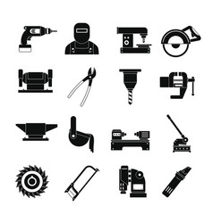 metal working icons set simple style vector image