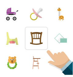 Flat kid set of child chair toilet napkin and vector