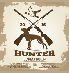 hunting vintage poster design with guns dog and vector image