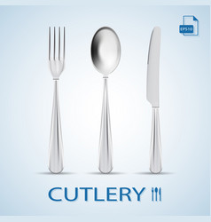 Cutlery set of fork spoon and knife isolated on a vector