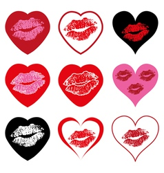 Hearts with kiss symbols vector