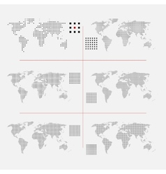 Set of dotted world maps in different resolution vector