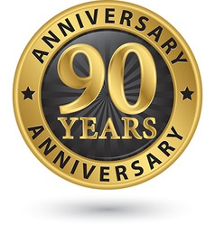 90 years anniversary gold label vector