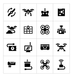 Set icons of quadrocopter multicopter drone vector