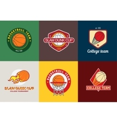 Set of vintage color basketball championship logos vector