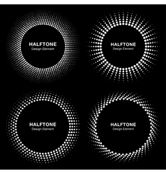 Set of black abstract halftone circle frame logo vector