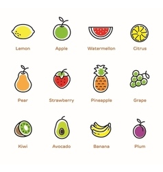 Fruits and berries color icons vector
