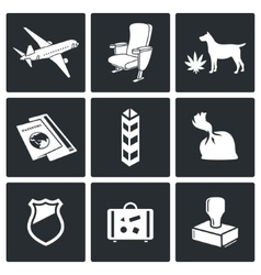 Airplane drug trafficking icon set vector