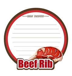 Line paper design with beef rib vector