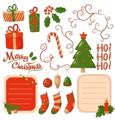 Christmas scrapbook elements vector