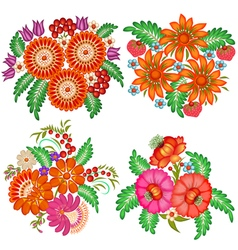 Set of hand-painted bouquets of flowers vector