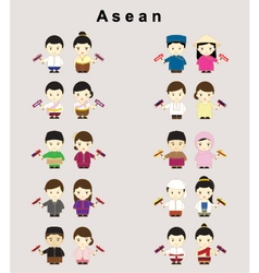 Asean in traditional costume vector