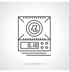 Digital scales flat thin line icon vector