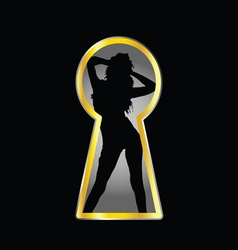 Girl pose and keyhole vector