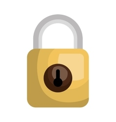 Yellow security padlock isolated icon vector