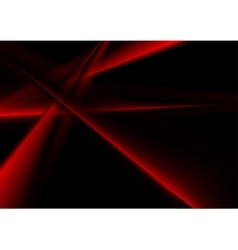 Abstract bright red smooth stripes on black vector