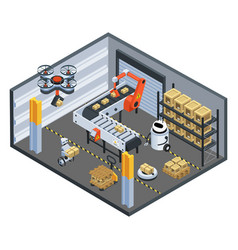 Automatic logistics delivery isometric background vector