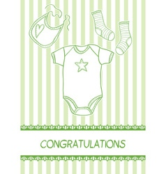 Baby arrival card with clothes vector image