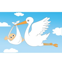 Baby with stork vector image vector image