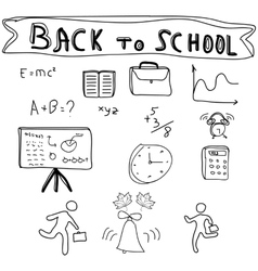 Back to school supplies sketchy doodles vector