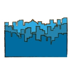 Blue city scene with building image vector