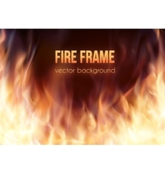Burning fire frame fiery background vector
