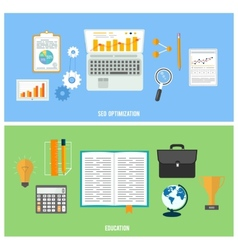 Business seo and education items icons vector image vector image