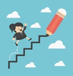 Business woman climbing ladder of success vector