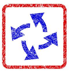 Centrifugal arrows grunge framed icon vector