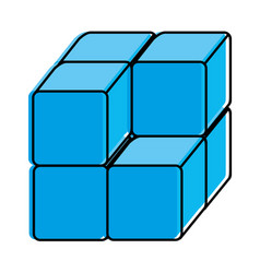Cube with blocks icon vector