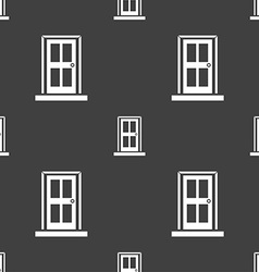 Door icon sign Seamless pattern on a gray vector image vector image