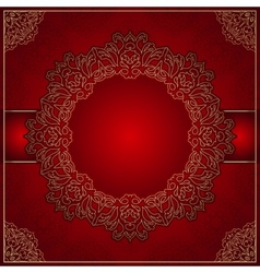Elegant red background with gold ornament vector image vector image