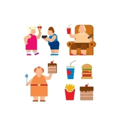 Fat people flat silhouette icons vector image vector image