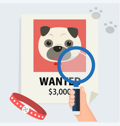 Flat hand with magnification find cute dog vector