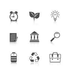 Flat Icons Set with Reflection vector image vector image