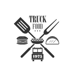 Food truck label design vector