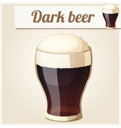 Glass of dark beer Detailed Icon vector image vector image