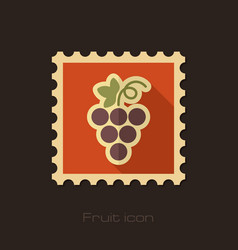 Grapes flat stamp fruit vector