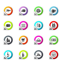 Grocery store icons set vector